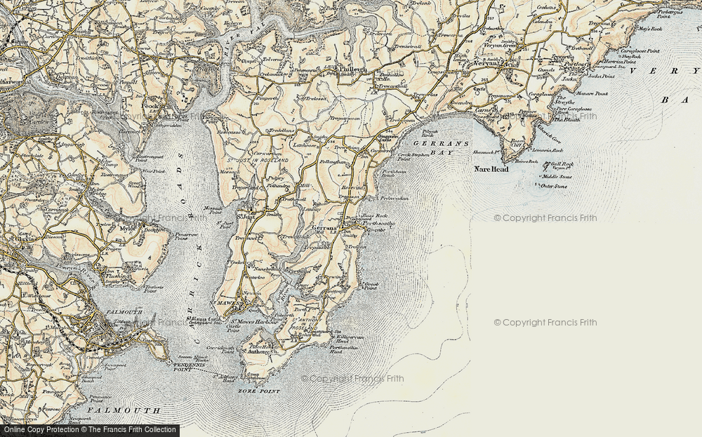 Old Map of Historic Map covering Lanhay in 1900