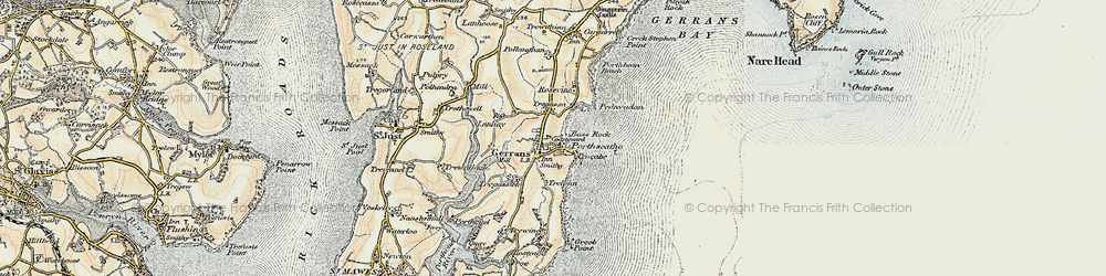 Old map of Gerrans in 1900