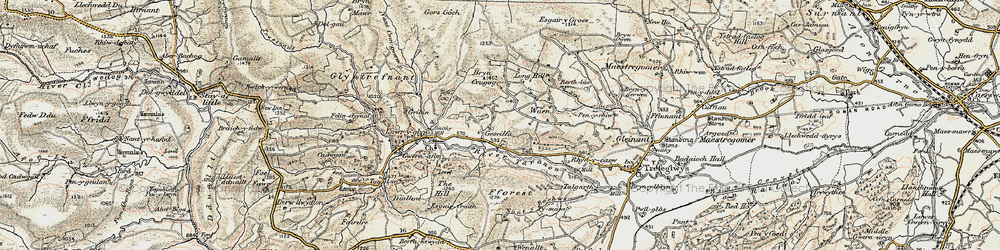 Old map of Afon Trannon in 1902-1903