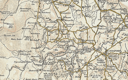 Old map of Gidleigh in 1899-1900