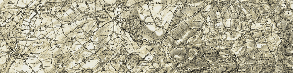 Old map of Aikeyside in 1903-1904