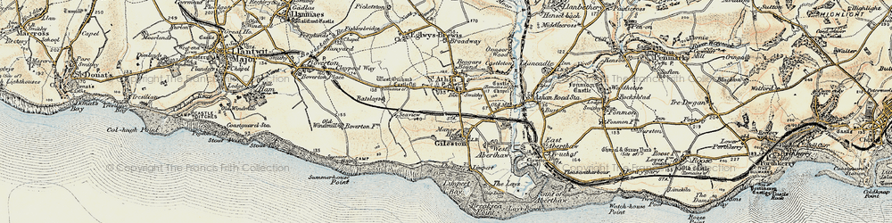 Old map of Gileston in 1899-1900