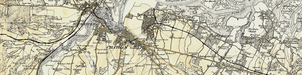 Old map of Gillingham in 1897-1898