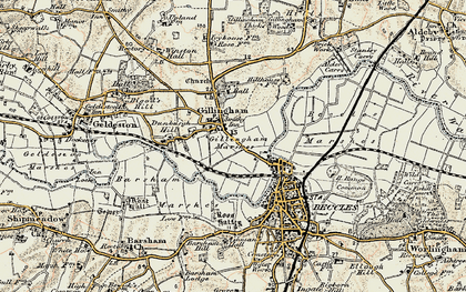 Old map of Barsham Marshes in 1901-1902
