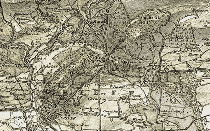 Old map of Auchilhanzie in 1906-1907