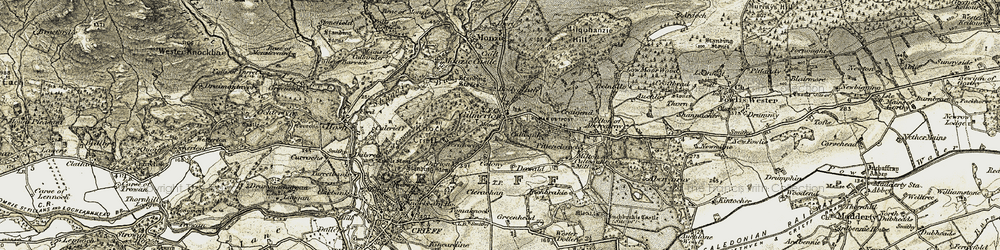 Old map of Gilmerton in 1906-1907