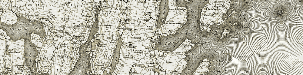 Old map of Tirsa Water in 1911-1912