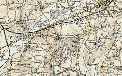 Old map of Gittisham in 1898-1900