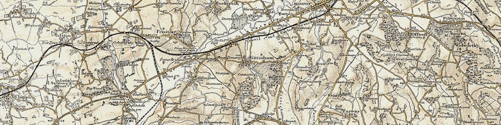Old map of Gittisham in 1898-1900