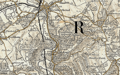 Old map of Leatherhead Downs in 1897-1909
