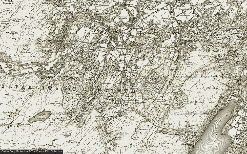 Old Map of Historic Map covering Badden in 1908-1912
