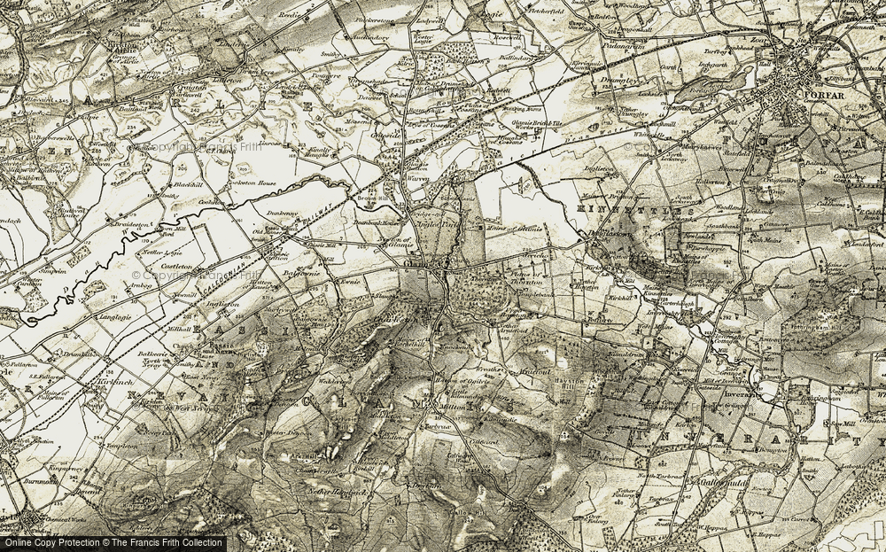 Old Map of Glamis, 1907-1908 in 1907-1908