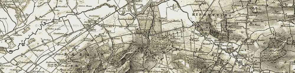 Old map of Glamis in 1907-1908