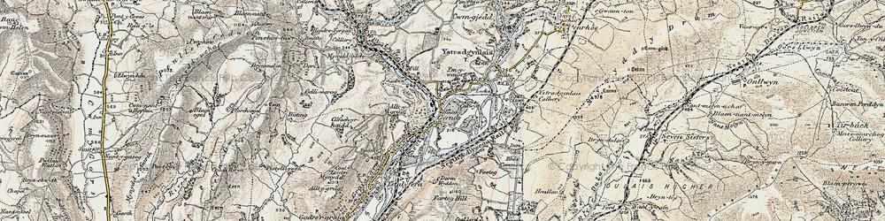 Old map of Ynys-Cedwyn in 1900-1901