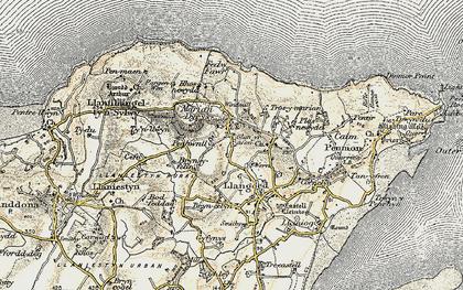 Old map of Bryn Ddol in 1903-1910