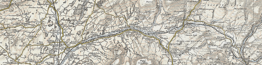Old map of Glanaman in 1900-1901