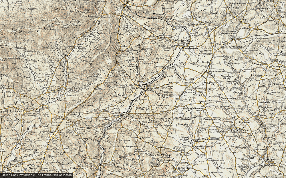 Old Map of Historic Map covering Aberelwyn in 1901