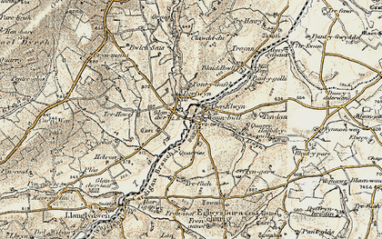 Old map of Aberelwyn in 1901