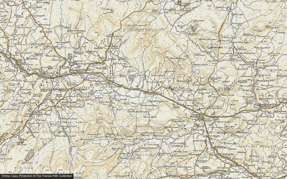 Old Map of Historic Map covering Afon Llaethog in 1902-1903