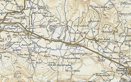 Old map of Afon Llaethog in 1902-1903