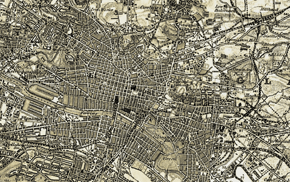 Old map of Glasgow in 1904-1905