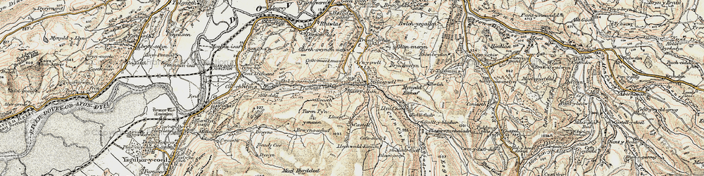 Old map of Glaspwll in 1902-1903