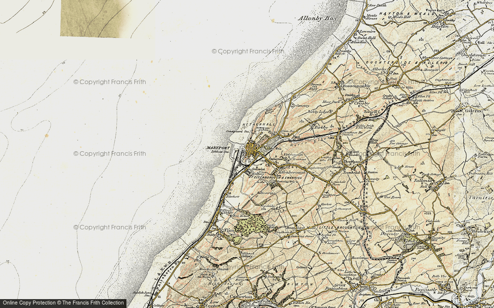 Old Map of Historic Map covering Alavna Roman Fort in 1901-1905