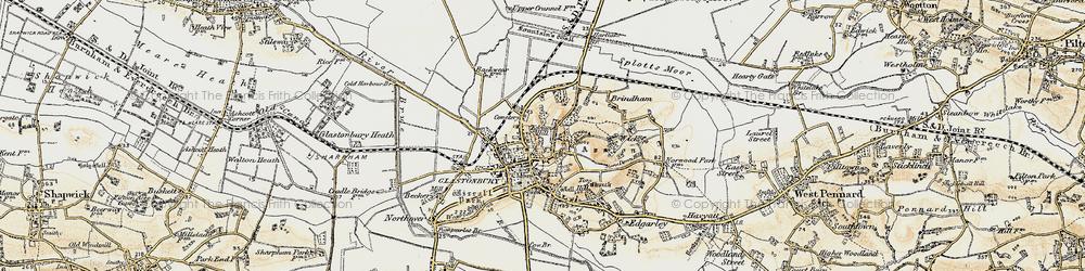 Old map of Glastonbury in 1899