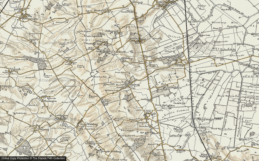 Old Map of Glatton, 1901 in 1901