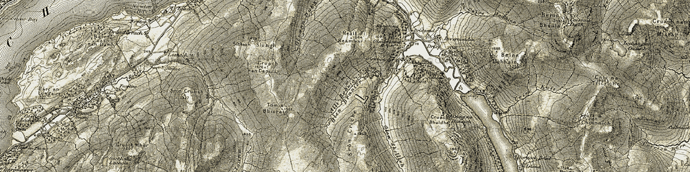 Old map of Allt Robuic in 1906-1907