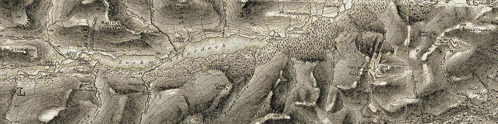 Old map of Allt Coire Eòghainn in 1908-1912
