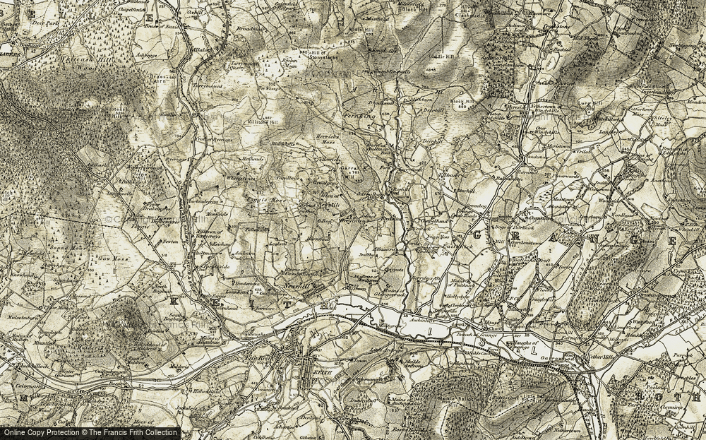 Old Map of Historic Map covering Allacardoch in 1910
