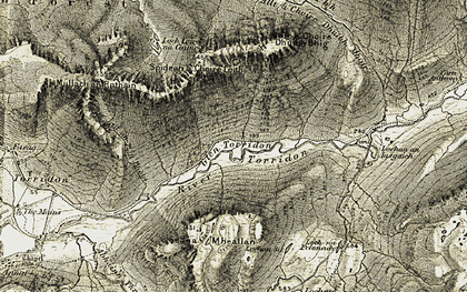Old map of Am Fuar-mheallan in 1908-1909