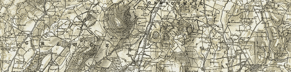 Old map of Yondertown of Knock in 1910