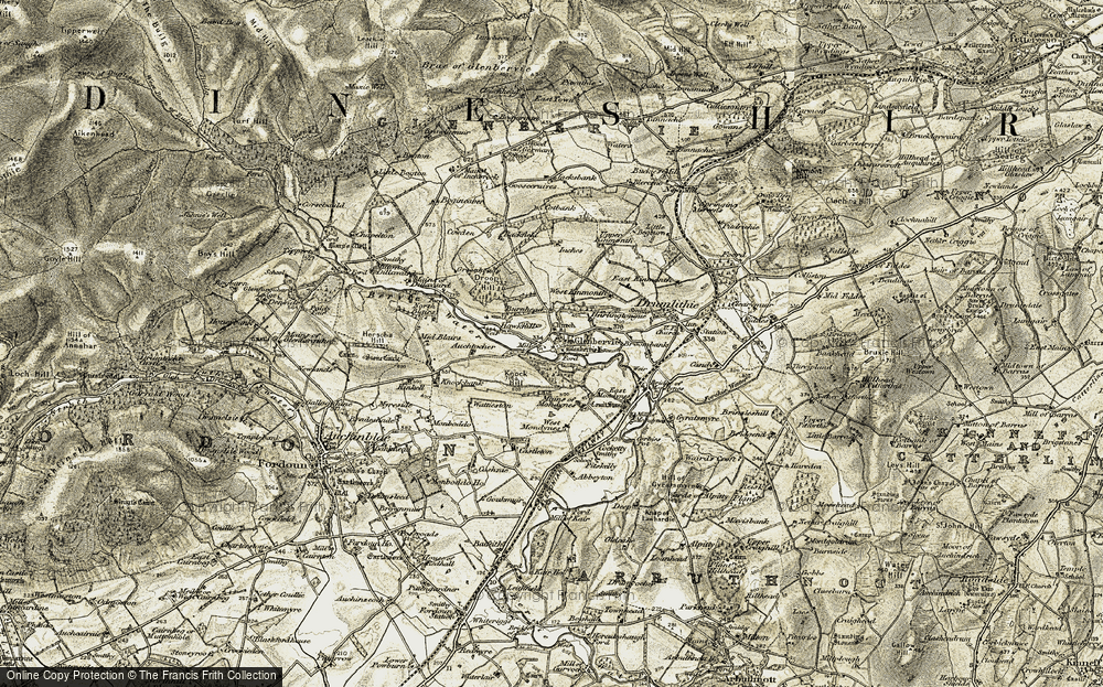 Old Map of Historic Map covering Auchtochter in 1908-1909