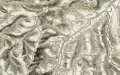Old map of Wills Cleuch Head in 1904-1905