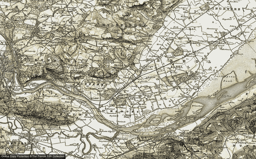 Old Map of Historic Map covering Balthayock Wood in 1906-1908