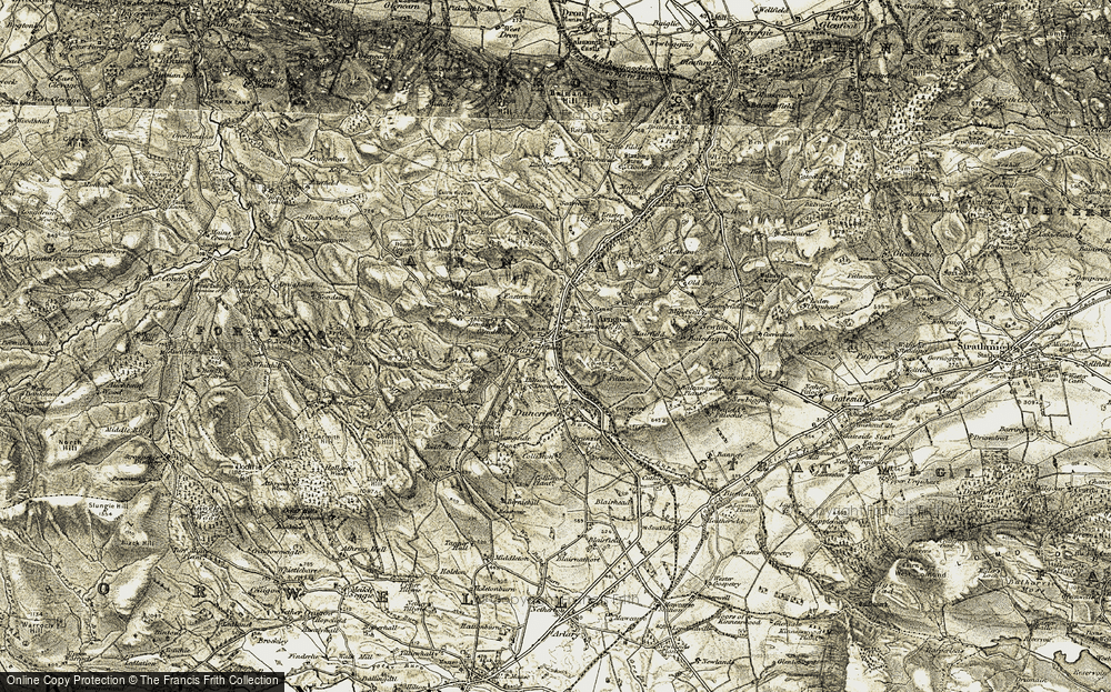 Old Map of Historic Map covering Abbots Deuglie in 1906-1908