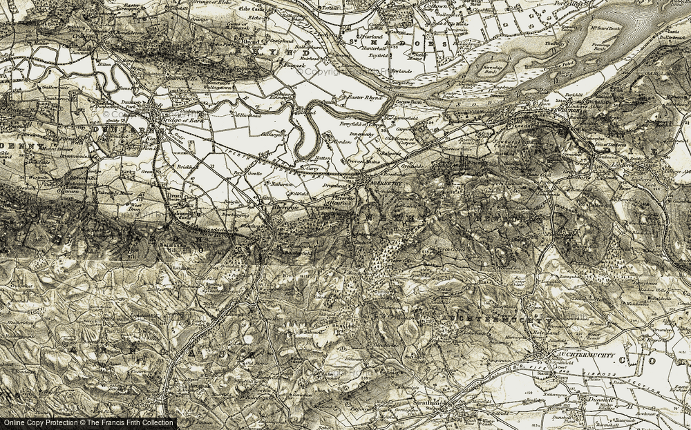 Old Map of Historic Map covering Abernethy Glen in 1906-1908