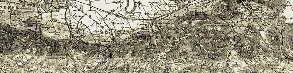 Old map of Abernethy Glen in 1906-1908