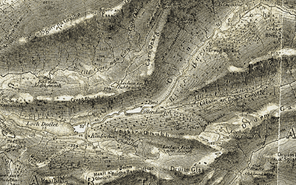 Old map of Allt an Dubh Choirein in 1906-1908