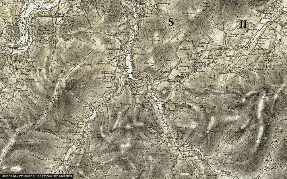 Old Map of Historic Map covering Alltnaha in 1908-1911