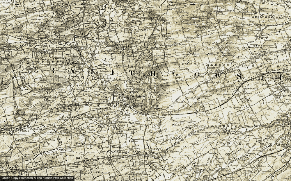 Old Map of Historic Map covering Limefield in 1904