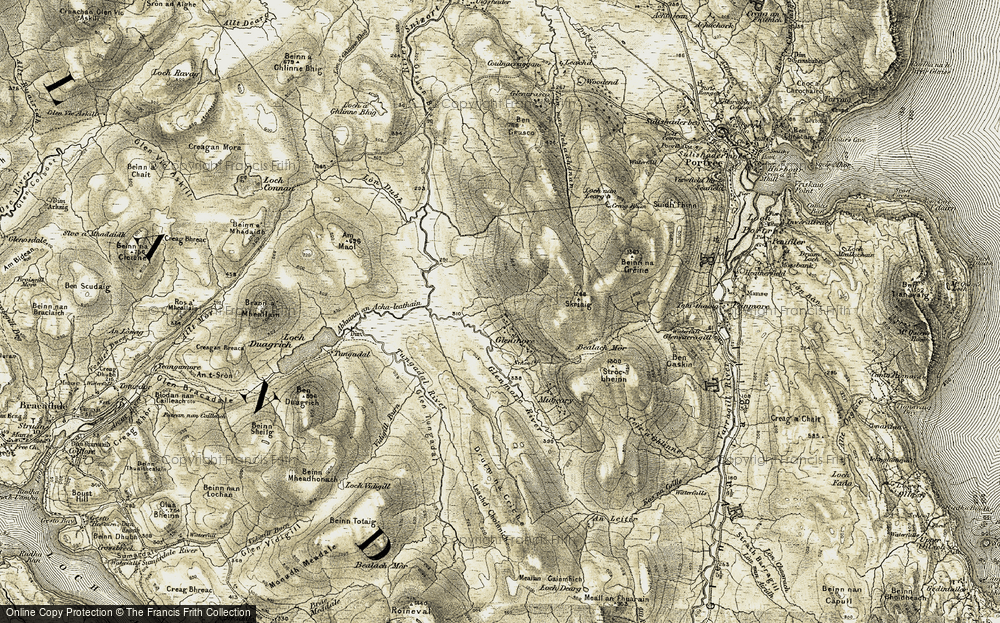 Old Map of Historic Map covering Am Maol in 1908-1909