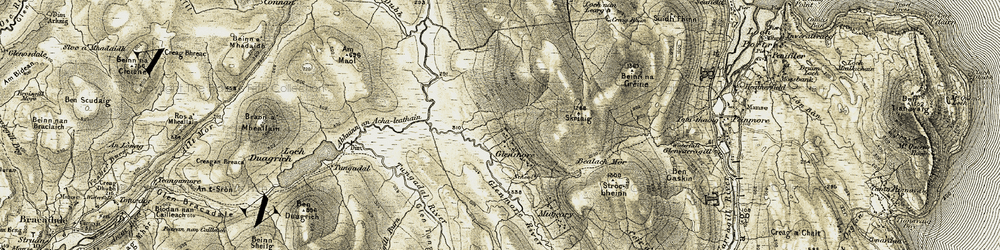 Old map of Am Maol in 1908-1909