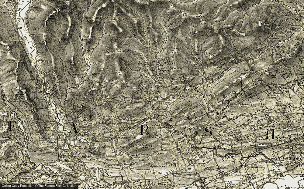 Old Map of Historic Map covering Baikies in 1907-1908