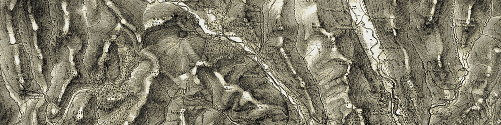 Old map of Wester Dalinch in 1907-1908