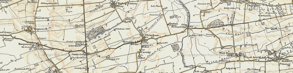 Old map of Glentham in 1903