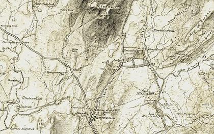 Old map of Bargrennan Burn in 1904-1905