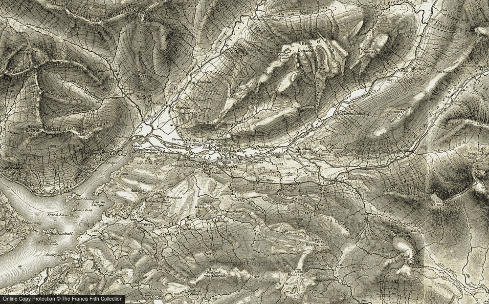Old Map of Historic Map covering Allt Fhuaran in 1906